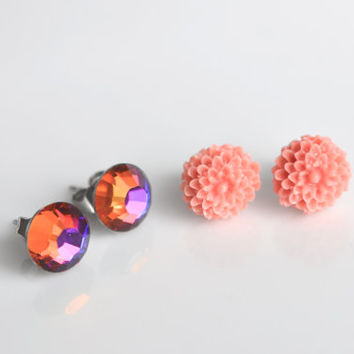 Flower and rhinestone stud earrings, rhinestone earrings,  coral flower earrings, simple earrings, small earrings, minimalist jewelry