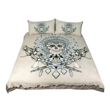 Indian Skull Bedding Set (Super Soft Duvet Cover with Pillowcases)