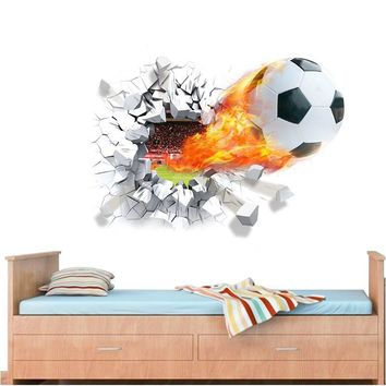 flying firing football wall stickers kids room decoration 1473. home decals soccer funs 3d mural art sport game pvc diy posters