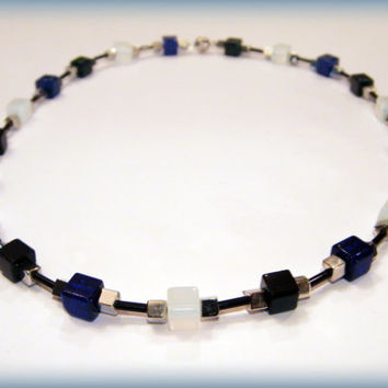 The Magpie necklace .. Cobalt Blue, Opalite and Black glass bead necklace with a magnetic clasp