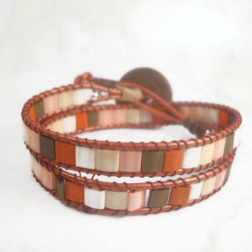 Rustic Beaded Wrap Bracelet Bohemian Leather Wrap Bracelet Beaded Wrap Bracelet