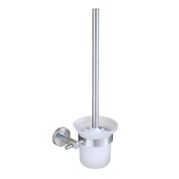 Blh 813 V Type Toilet Brush Set Brushed Nickel Toilet Brush Holder Frosted Glass Cup Hotel Style Wc Borstel