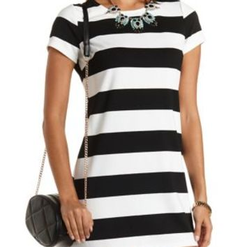 Black/White Striped Short Sleeve T-Shirt Dress by Charlotte Russe