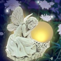 Solaration174; 3001 Serenity Fairy Statue with Solar Amber LED Light, Ivory Body and Wing