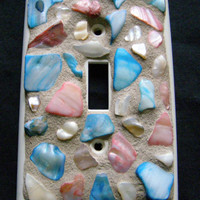 Shell Switch Plate,Red, Blue and Gold Abalone Shell, Mosaic Switchplate, Beach Decor, Home Decor, Shell Decor, Outlet Cover