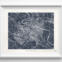 Zaragoza, Spain, Print, Map, Poster, State, City, Street Map, Art, Decor, Town, Illustration, Room, Wall Art, Customize, Dorm, Living Room