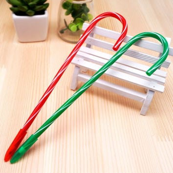Christmas Gift Santa Claus Ball Point Pen Crutch Ink Black Designer Students Stationery Set School Supplies Gift Pen