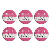 Sheryl Hello My Name Is Plastic Resin Button Set of 6
