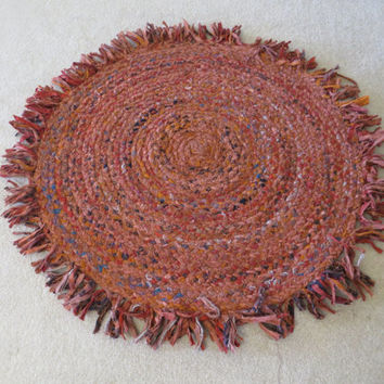 Large Rag Rug, Round Braided, Chindi Scrap Area Rug, Area Rugs, Multi colored Hand Torn Cotton, burnt orange multi colored rug, floor mat