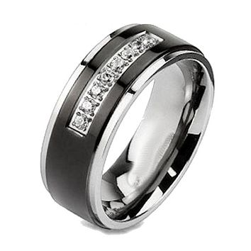 Men Women Couples Black Titanium Cz Wedding Rings