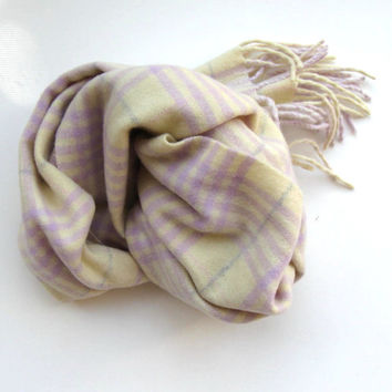 Beautiful Vintage Cashmere Scarf,  Women's Accessory,  Lavender and Pale Yellow