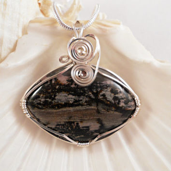 Wire Wrapped Pendant, Handmade, Rhodonite Picture Jasper Jewelry