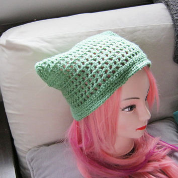 Women's Green Crochet Hair Kerchief