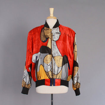 90s PICASSO Print SILK BOMBER / Oversized 1990s Bright Abstract Face Print Jacket