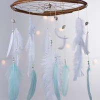 White and Mint Dreamcatcher Mobile - White Dream catcher Mobile Boho Bohemian Baby Mobile Tribal Crib Nursery Baby Girl Baby boy Traumfanger