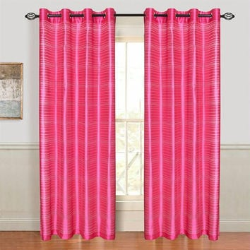 Set of 2 Lavish Home Maggie Grommet Curtain Panel - Fuschia