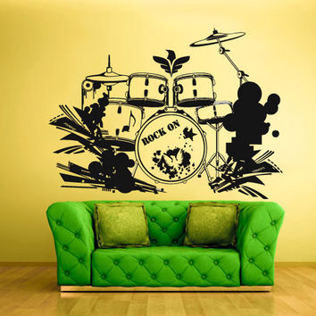 rvz636 Wall Vinyl Sticker Bedroom Decal Drum Instruments Music