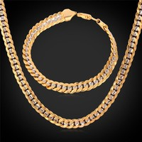 Jewelry Sets Bracelet And Stamp Trendy 55CM 6MM Platinum 18K Gold Plated NH828