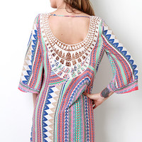 Crochet Print Shift Dress