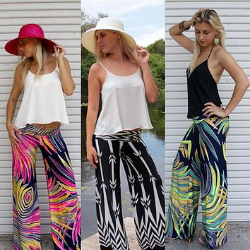 Summer Ladies Wide Leg Flared Loose Pants Leggings Womens Floral Print Palazzo Trousers