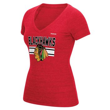 Chicago Blackhawks Women's Bevel Stacked V-Neck Tee