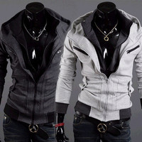 Double Zip Design Slim Fit Men Fashion Hoodie Jacket
