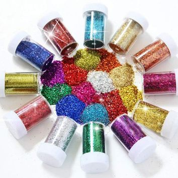 12PCS Fine Glitter for Art Crafts Nail Art Face Art & Slime Glitter Shaker Tubes for Crafts and Card Decorations Assorted Color