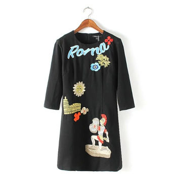 Vintage Cartoon Embroidery Half Sleeve Back Zipper A-Line Dress