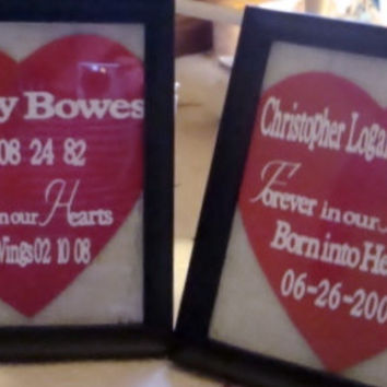 In Loving Memory Burlap Frame and Wood Heart by aMAZEingSigns