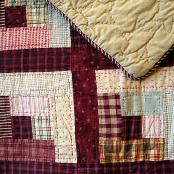 Twin Quilt  In Antique Red Hand Quilted