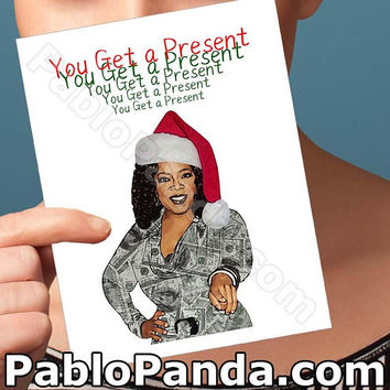 Holiday Cards | Oprah | Present Merry Christmas Card Cute Christmas Card Boyfriend Card Girlfriend Card Boyfriend Gift Gift For Her Men Card