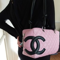 CHANEL HANDBAG CAMBON LIGNE PINK & BLACK COCO SHOULDER BAG - HARRODS -ITALY