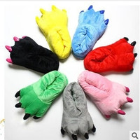 New Lovely Warm Cotton Slippers Winter Super Soft Coral Velvet Paw Plush Slippers Dinosaur Cute Indoor Shoes