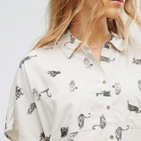 Vero Moda Printed Boxy Blouse at asos.com