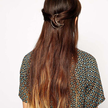 Hollow Out Moon Stylish Simple Design Hair Accessory [8026181895]