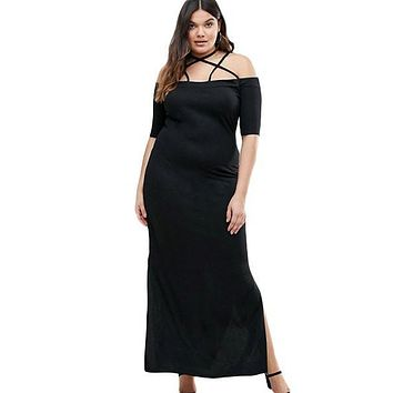 Chicloth Maxi Dress with Side Slits Strap Detail Plus