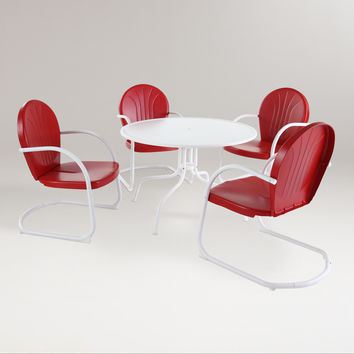 Red Durresi Metal Dining Set, 5-Piece - World Market