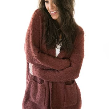 Keep It Cozy Cardigan In Brick