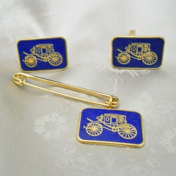 Vintage Cufflinks & Tie Clip - Antique Car - 70s Blue Cuff Links - Tie Bar
