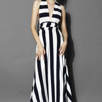 Spotlight Stripes Self-tie Maxi Dress  Multi