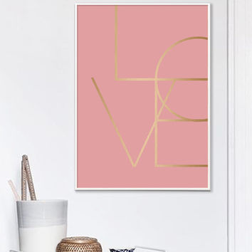 Love Print, Copper Print, Pink and Gold Art, Pink Geometric, Printable Art, Love Art, Gold Prints, Minimalist Art, Digital Download