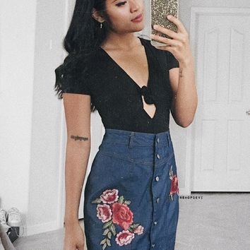 Dark Indigo Rose Patch Skirt