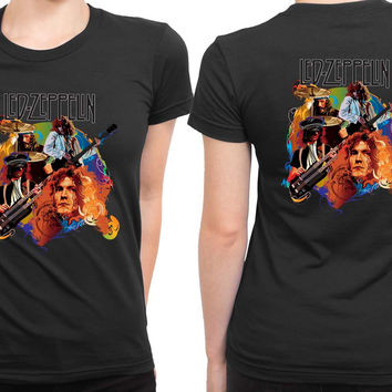 Led Zeppelin Cartoon Cover 2 Sided Womens T Shirt