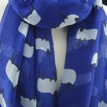 Sheep Print Scarf Women Neck Shawl Lady Soft Wrap Stole Farm Animal Fashion Blue