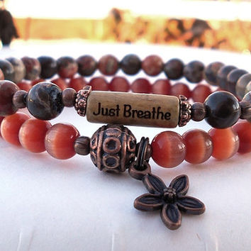 Breathe Bracelet, Just Breathe Inspiration Bracelet, Yoga Bracelet, Yoga Jewelry, Motivational Gift, Intention Bracelet