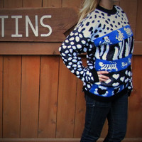 Vintage oversized Dalmation hipster pullover sweater. made in the USA. oversized grandpa sweater. novelty sweater. cat sweater