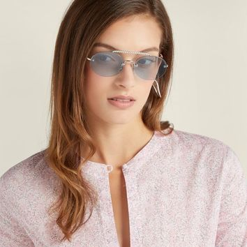 Oval-shaped crystal-embellished sunglasses | Miu Miu | MATCHESFASHION.COM US