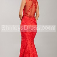 [ $176.89 ]Classic Sleeveless Lace Embellished Long Gown with Illusion Detail
