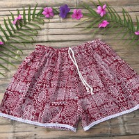 Womens Tribal Shorts // Tribal Shorts // Elephant Shorts // Boho Shorts Women // Hippie Shorts // Hippie Shorts Women // Festival Ideas