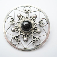 Onyx Brooch Pendant Vintage Mexican 925 Sterling Silver Bold Star